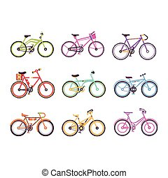 Various types of bikes for male, female and kids set, colorful bicycles with different frame types vector Illustrations