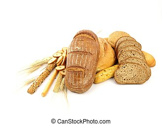 Various types of bread and other wheat products isolated on ...