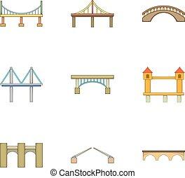 Various types of bridges icons set, cartoon style