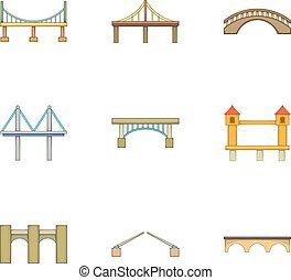 Various types of bridges icons set, cartoon style