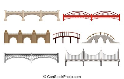 Various Types of Bridges Made of Concrete and Metal Isolated on White Background Vector Set