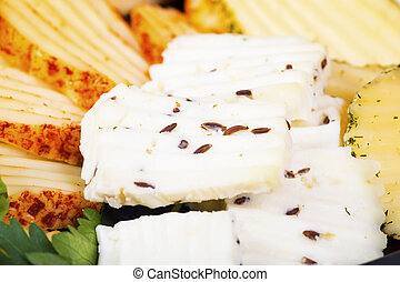 Various types of cheese close up. Macro background