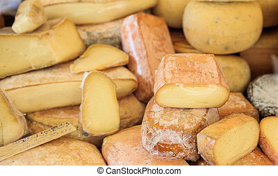 Various types of cheese- full background