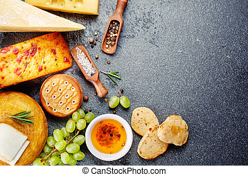 Various types of cheese with snack