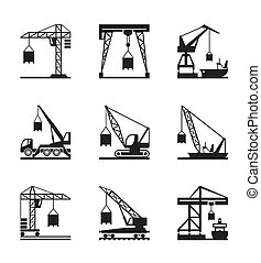 Various types of cranes