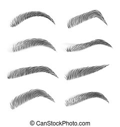 Various types of eyebrows. Eyebrows isolated on white background. Black eyebrow pack. Classic type and different eyebrow thickness. Black eyebrow pack. Vector illustration