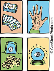 various types of fortune telling - hand drawn illustration