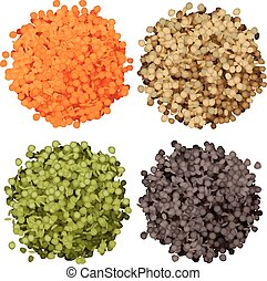 Various types of lentils piles set