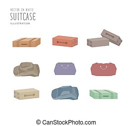 Illustration vector various types of luggage flat style.