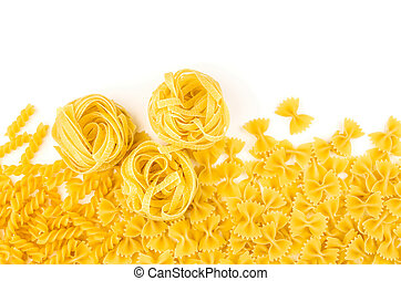 Various types of pasta on a white background