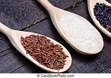 Various types of rice in a wooden spoons