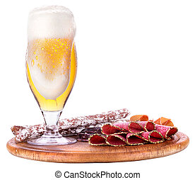 various types of sausages and beer isolated background