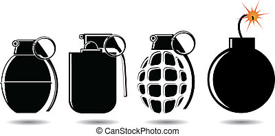 various types of shells and bombs vector illustration