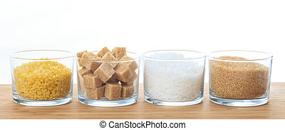 Various types of sugar on a table