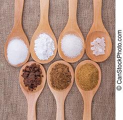 Various Types Of Sugar - Various type of sugar on wooden ...