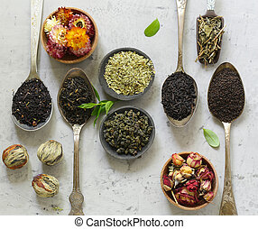 various types of tea in spoons