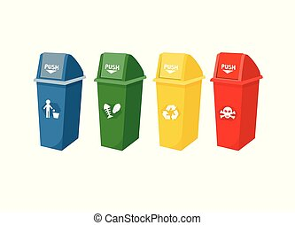 Various types of trash For separating waste when dumping into the tank.