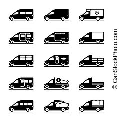 Various types of vans and pickups