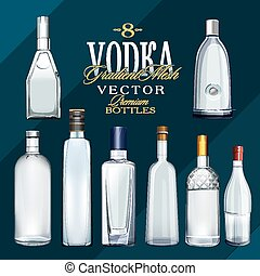 Various Types Of Vodka Bottles. Vector Illustration