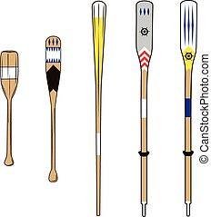 oars - various types of wooden oars with various colors