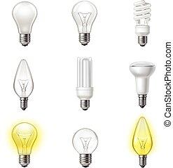 Various types realistic lightbulbs set