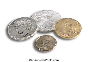US coins - Various US coins in gold, silver and bronze