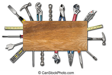 Various used tools on white background