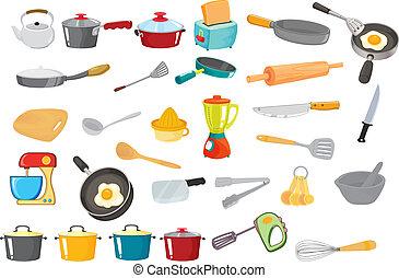 various utensils - illustration of various utensils on a...