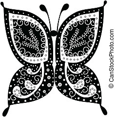 Various vector butterflies on background - Multicolored...