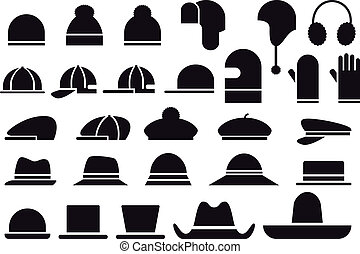set of various hats and caps, vector icons