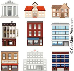 Various vector illustration building office