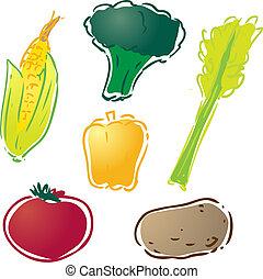 Various vegetables illustration : corn, bell pepper, celery,...