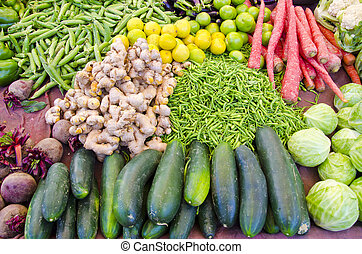 vegetables in asia street market, India