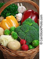 Various vegetables in basket
