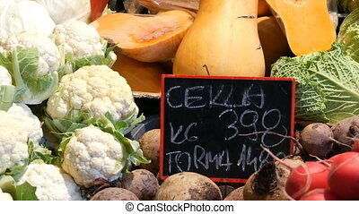 Various vegetables on the counter of the grocery market....
