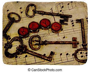 Vintage Keys - Various Vintage Keys With Aged Photo Look.