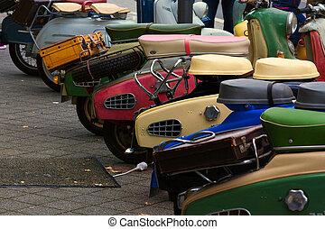 Various vintage scooters