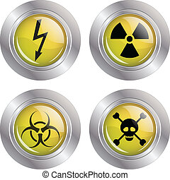 Various warning signs - Illustration of a button with...