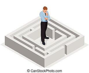 Various ways. Solving problems. Businessman finding the solution of a maze. Business concept. Vector 3d flat isometric illustration.