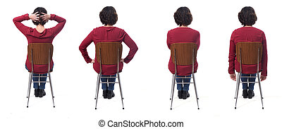 various ways to sit on a chair on white