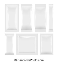 Various White Plastic Bag Package Set On White