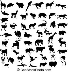 Various wild animals silhouettes