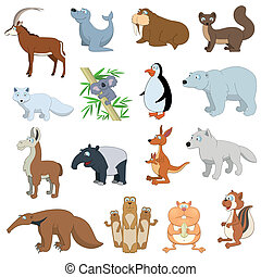 Various Wildlife Animals set on white background