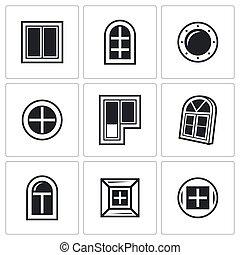 Various window icons set. Vector Illustration.