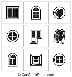 Various window icons set. Vector Illustration.