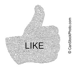 Various words forming thumb up on white background