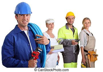 Various workers stood in row