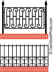 Various wrought iron-fence