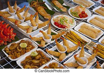 variouse, 美味, 亞洲人, 街道食物, 上, a, 桌子