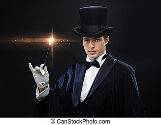 varita mágica, cima, truco, mago, sombrero, actuación